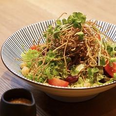手打ち揚げ蕎麦の大根サラダ