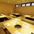 【掘りごたつ個室】仕切りを入れ、最大24名様収容可能な団体様用個室