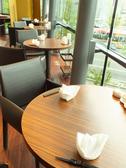 丸テーブルの2名席からは萬代橋が…