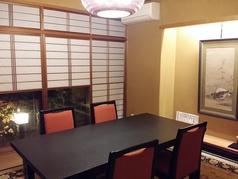 【個室】店内奥に足を進めると…隠れ家のようなしっとりとした空間のお席をご用意しております。おもてなしにぴったりなお部屋です。お客様の人数に合わせご案内いたします!お席詳細・人数・ご予算など、お気軽にお問い合わせください※写真は一例です