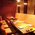 ◆充実個室席◆落ち着いた雰囲気の個室はタイプも様々ご用意しております。2名様から10名様前後、60名以上の団体のお客様までお人数に合わせて個室をご用意致します。ご希望のお部屋がございましたら、スタッフまでお気軽にお伝え下さいませ♪お席のご予約も承ります。