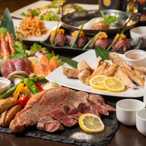 ◆金美コース◆3h飲放×料理8品◆一番人気◎ウニのせ肉寿司に厚切りステーキ等5,300円→ 4,300円