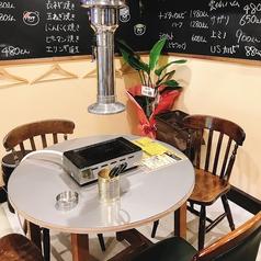 壁前面にメニューが書いてあり、テーブル席から見やすくなっております。