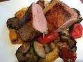 料理メニュー写真合鴨ロース肉のロースト 野菜のソテー 洋ワサビの和風ソース添え