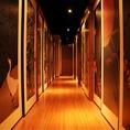 個室が連なる廊下