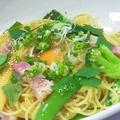 料理メニュー写真玉子とお野菜えるあるスパゲッティー