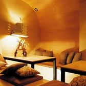 ドーム型の個室は木のぬくもりがあたたかい