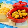 料理メニュー写真ムール貝とジャガイモのアヒージョ バケット添え