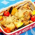 料理メニュー写真とりモモ肉と季節の野菜のオーブングリル バジルソース