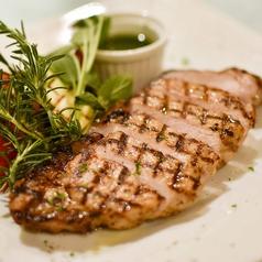 料理メニュー写真豚ロース肉のグリル、グリーンソース