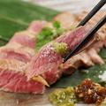 料理メニュー写真ブラックアンガス牛ステーキ~三つの薬味で~ 150g