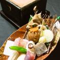 ≪毎日直送海の幸と季節野菜≫【季の庭】では全国の港から毎日直送される海の幸と季節の野菜を中心に素材そのものの味を生かしたお料理をご提供。また「盛りつけに合った器」にもこだわっております。