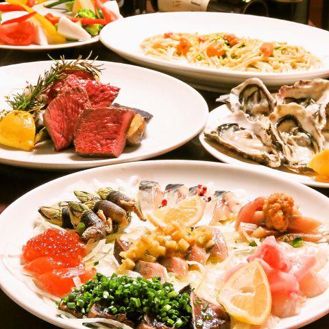 ウニや牡蠣・肉など道産にこだわった120分飲放5500円→4000円