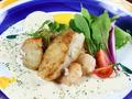 料理メニュー写真魚介と海老のソテー クリームソース仕立て