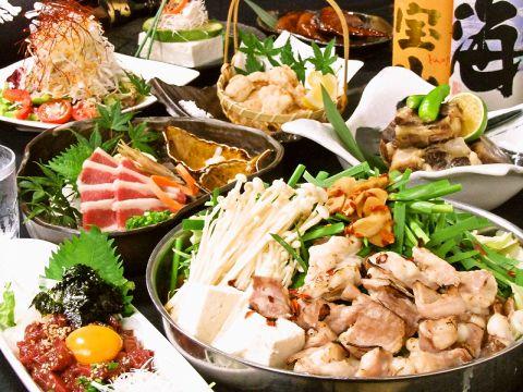 炙りもつ鍋コース3000円。〆のチャンポン麺は、細めんor太麺からお選び下さい。