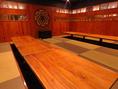 2階の団体用個室【はなれ】は、気品溢れる空間!36名収容可。20名~貸切可!またもう一つの団体個室【長屋】は20名まで収容可能!【月ノ間】:4名までの完全個室。『和』のあしらいに灯りの演出で、落ち着いた空間となっています。接待など大事な方のおもてなしなどに。全席掘りごたつ個室です!