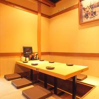 半個室や堀ごたつ席、テーブル席等様々な空間を完備。