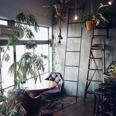 2名~のテーブル席。中でもメインフロア奥の緑に囲まれた2名席は、デートにもぴったり。植物が視線を遮ってくれるので、二人の落ち着いた時間をお過ごし頂けます。
