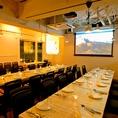 <貸切>個室やソファー以外のテーブル席は最大42席。立食時なら80名までパーティーにご対応!