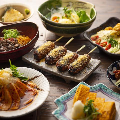 阿波尾鶏を贅沢に使った鶏づくしの飲み放題コースは大人気!焼き鳥、地鶏のタタキも★