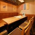 テーブル席は最大6名様迄ご予約可能なテーブル席をご用意。会社宴会、ファミリー、合コン、誕生日会、女子会など様々なシーンでの使い勝手抜群です★KITSUNEの全てを詰め込んだ宴会コースもご用意♪全12品豪華天ぷら等贅沢なコースは120分飲み放題付き4500円!