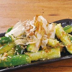 かち割り梅塩胡瓜/おつまみピリ辛葱メンマ/玉葱ドレッシングで食べるオニオンスライス/たこわさび