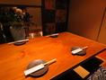 最大36名までの宴会が可能の完全個室席を完備。。『和』のあしらいに灯りの演出で、落ち着いた空間となっています。接待など大事な方のおもてなしなどに。