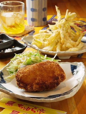 【春のおすすめ】じゃがいもとラフテーで作った角煮コロッケ&島らっきょうの天ぷら♪