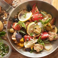 塩ダレグリルチキンと夏の野菜たち