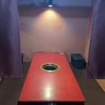 6名様迄ご利用頂けるテーブル席です。のれんがあり半個室風の空間です。