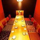 テーブルタイプの完全個室です。 通常8名様用のお席ですが平日などゆったり6名様でのご利用も可能な場合がありますのでご相談ください。