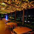 【夜の絶景×テラス×ビール】テラス席50席は大人気の季節限定の席。7階ならではの広島の景色が一望できる景色は、店内と違った雰囲気を味わうことができます♪