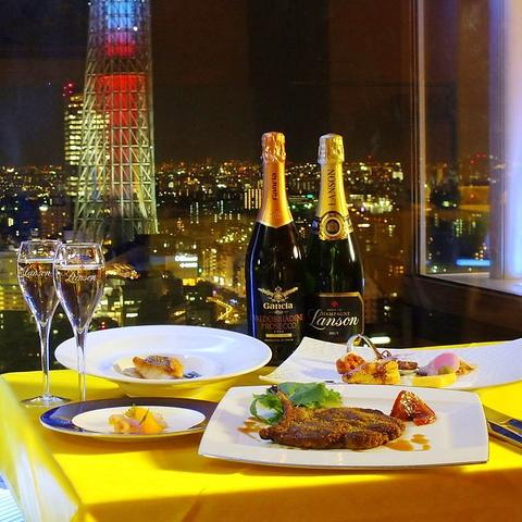東京スカイツリー(R)と夜景をバックに大切な方と思い出に残るひと時をお過ごし下さい