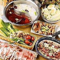 美容や健康に◎自家製スープ2種の薬膳火鍋5200円(税込)
