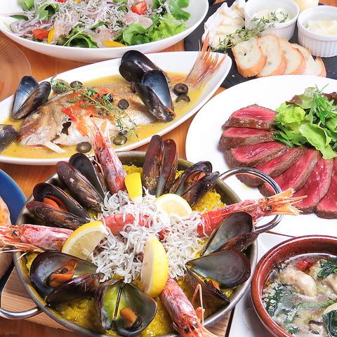 【豪華★宴会コース】2.5H飲み放題!鮮魚のアクアパッツァや峠下牛のステーキ等全10品6000円