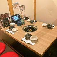 個室も掘りごたつ席も4名席と8名席をご用意してます。