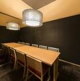 シックなテーブル席の完全個室。カジュアルな女子会にもゆっくりお寛ぎいただけます。