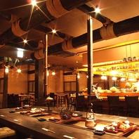 古き良き日本の台所を再現。写真は囲炉裏のお席。