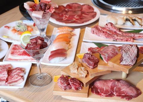 本格焼肉と豊富な寿司、多彩なアラカルトが食べ放題!!タッチパネルでご注文頂けます☆