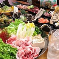 【のりのり酒場奥三河鶏醤油鍋or国産豚旨辛鍋コース】