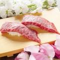 料理メニュー写真黒毛和牛サーロイン炙り握り寿司 2貫