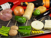 新鮮な野菜も炭火で堪能!!
