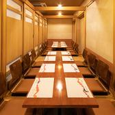 【B1F:3~36名様まで】掘りごたつ席レイアウト/仕切り壁を調整することで人数に合わせた個室をご用意いたします。お席のタイプはテーブル席または掘りごたつ席よりお選びいただけます。仕切りを全て外せば最大36名様でのご利用が可能です。『