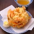 料理メニュー写真半熟卵と野菜かき揚げ