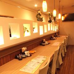 気軽なお食事にもご利用いただけるお席です!1名様でもOK。カップルにも人気のお席です♪照明に淡く照らされたお席で当店自慢のお料理に舌鼓♪プライベートなご利用には雰囲気のよいカウンター席がおすすめです!