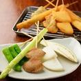 野菜串カツ盛り(お任せ野菜串4本・アスパラ1本)600円