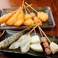 魚介串カツ盛り(お任せ魚介4本・玉ねぎ1本)850円