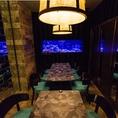 こちらのアクアリウム個室はテーブル席となっており、御食事に最適☆2名様から最大28名様まで宴会可能です!