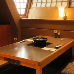 【2階・掘りごたつ個室】2名様用の個室です。デートにも人気のお席です。ご予約はお早めにどうぞ。