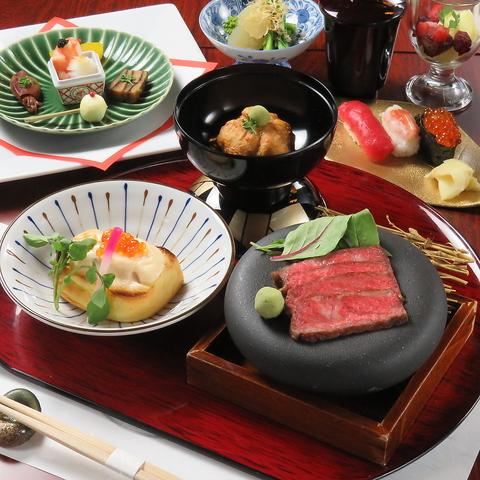 【月5500円(税込)】料理8品牛ステーキ・旬季の造里盛り合わせメイン〜